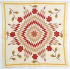 Lone Star Quilt with Applique: Circa 1910