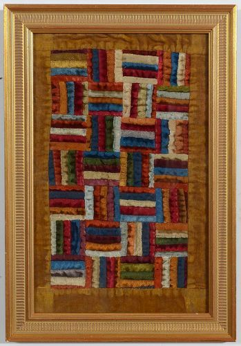 Fence Rail Log Cabin Doll Quilt: Circa 1890