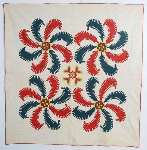 Princess Feather Quilt with Stuffed Applique: Circa 1860; Pennsylvania