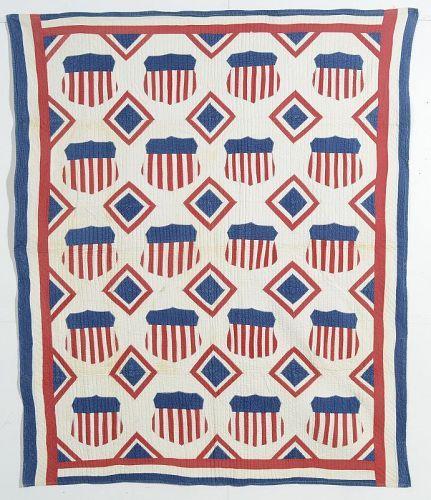 Patriotic Shields Quilt: Circa 1910; Pennsylvania