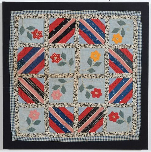 Applique Doll Quilt with Log Cabin: Circa 1890; Pennsylvania