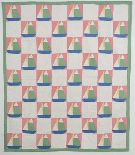 Sailboats Quilt: Circa 1920; Pennsylvania
