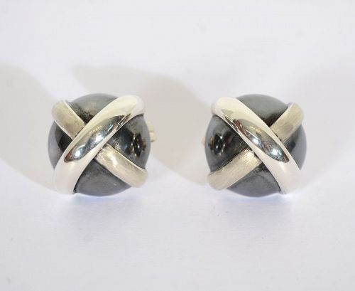 Domed Silver Criss Cross Earrings
