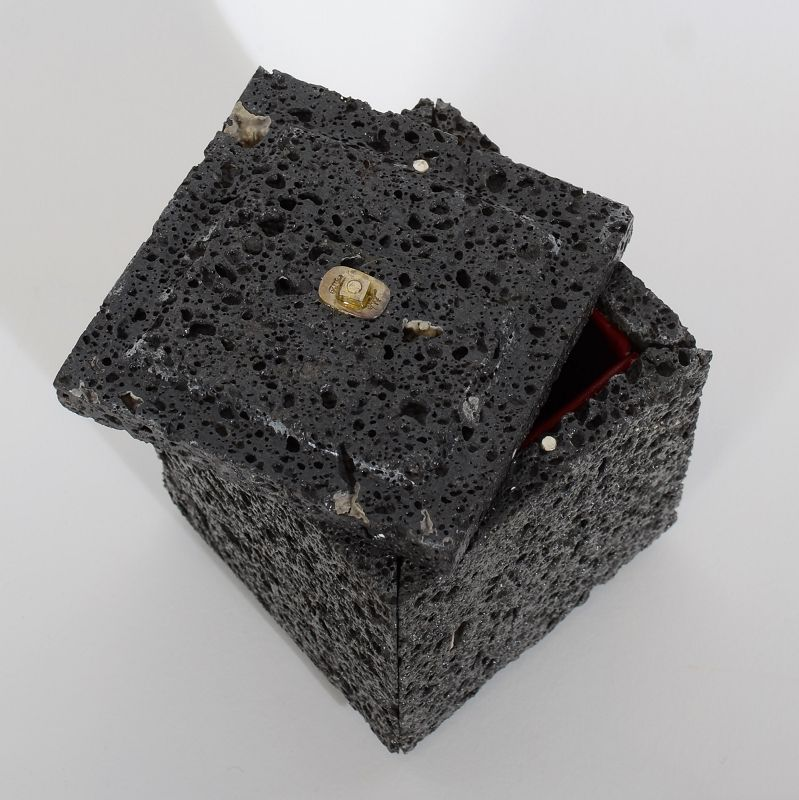Volcanic Lava Box with Silver and Crystal Finial