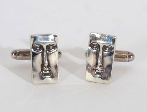 Modernist Silver Face Cufflinks
