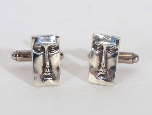 Modernist Silver Face Cufflinks