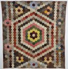 Hexagons Charm Quilt: Circa 1870's; Pennsylvania
