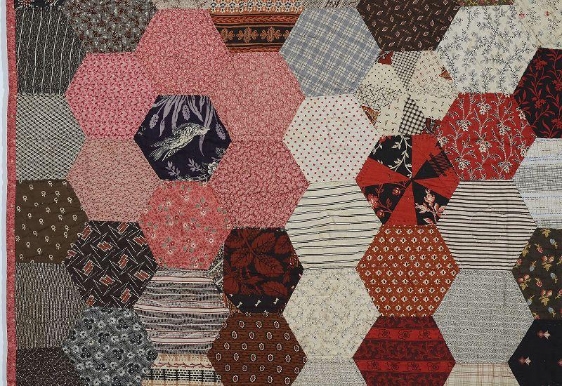 Hexagons Charm Quilt: Circa 1870's; Pennsylvania