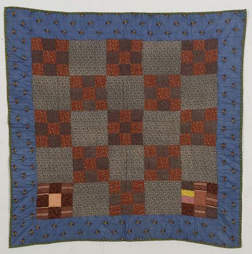 Nine Patch Crib Quilt: Pennsylvania; Circa 1880