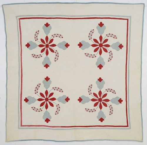Cockscomb and Currants Quilt: Circa 1870; Pennsylvania