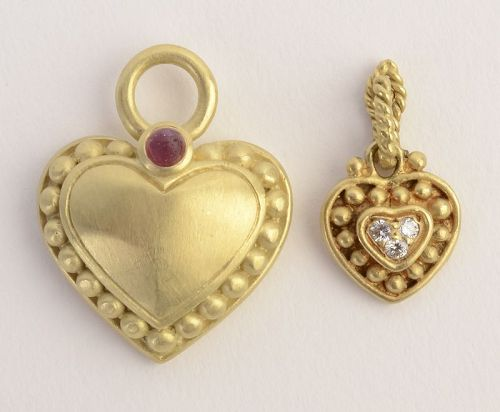 Judith Ripka Gold Heart Pendants