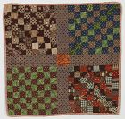 Sixtyfour Patch Doll Quilt: Circa 1870's: New England