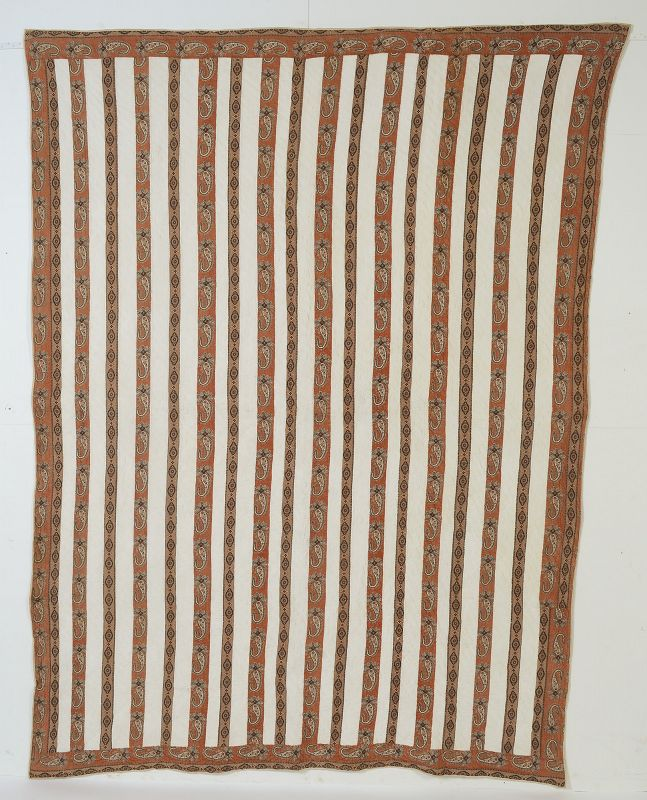 Paisley Bars Quilt: Circa 1870; New York State