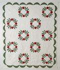 Wreath of Roses Quilt; Circa 1870; Virginia