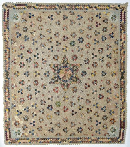 Early Hexagons Quilt with Center Star: Circa 1820's