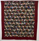 Wool Crazy/ Tumbling Blocks Quilt: Circa 1890; Pa.
