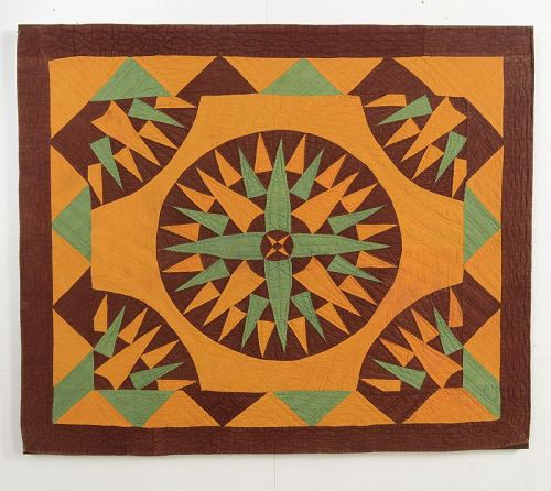 Mariner's Compass Crib Quilt: Circa 1880; Pennsylvania