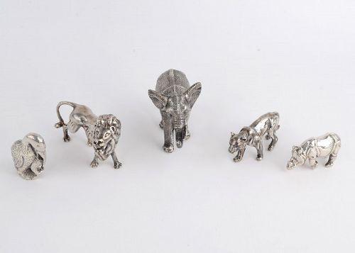 Sterling Silver Jungle Animal Sculptures