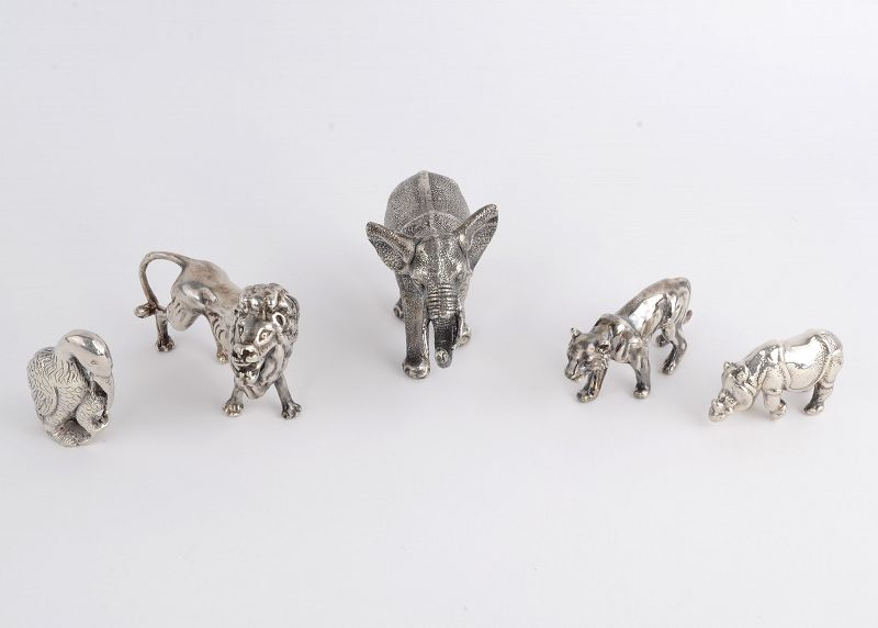 Sterling Silver Jungle Animal Sculptures