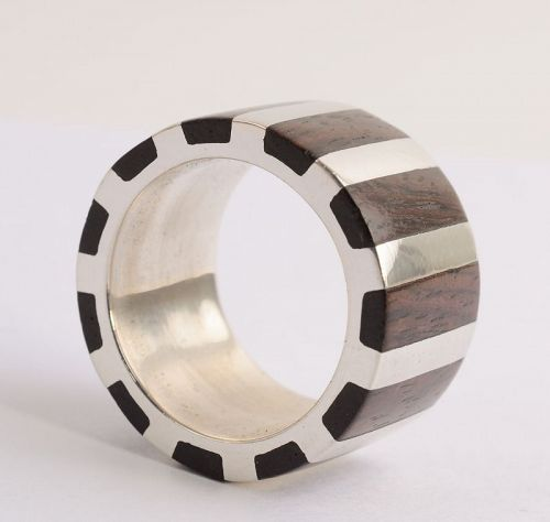Silver and Rosewood Band Ring