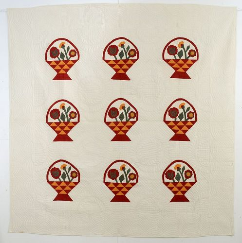Baskets of Flowers Quilt: Circa 1900