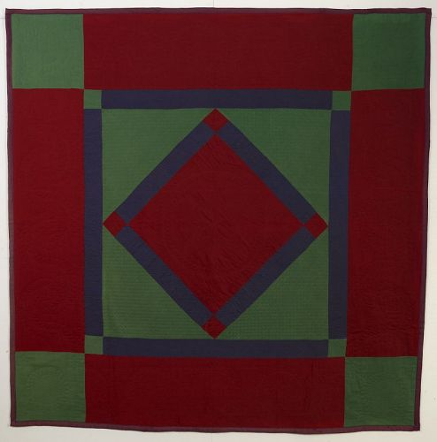 Lancaster County Amish Diamond in Square Quilt: Circa 1920