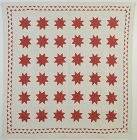 LeMoyne Stars Quilt with ZigZag Border: Circa 1880; Pennsylvania