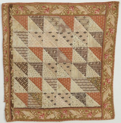 Thousand Pyramids Doll Quilt: Circa 1870