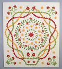 Pot of Flowers Applique Quilt Top: Circa 1870; Pennsylvania