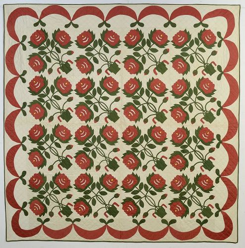 Pots of Flowers Quilt: Circa 1920