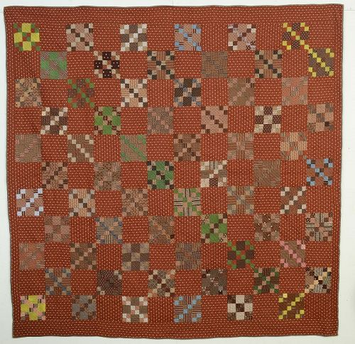 Four Patch in NIne Patch Quilt: Circa 1870; Pennsylvania