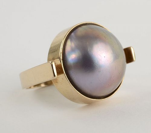 Betty Cooke Mabe Pearl Gold Ring