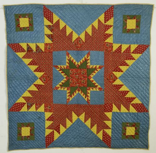 Feathered Star Crib Quilt: Circa 1840; Pennsylvania