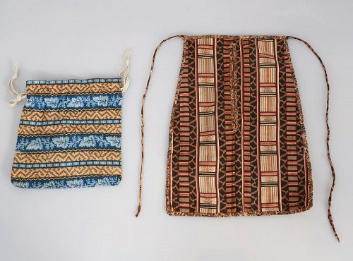 Waist Pocket and Sewing Bag; Circa 1830; New England