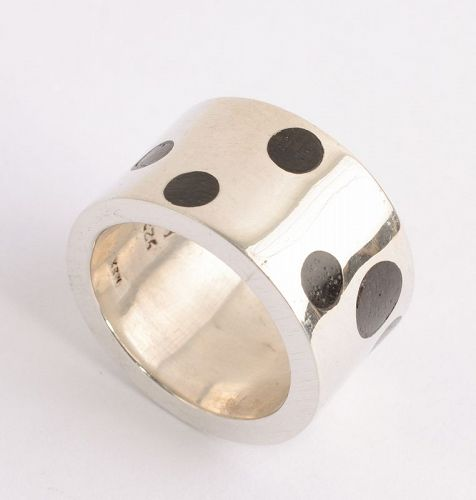 Silver Ring with Wood Dots