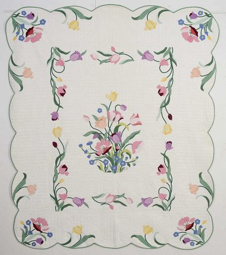 Pair of Floral Applique Quilts: Circa 1930