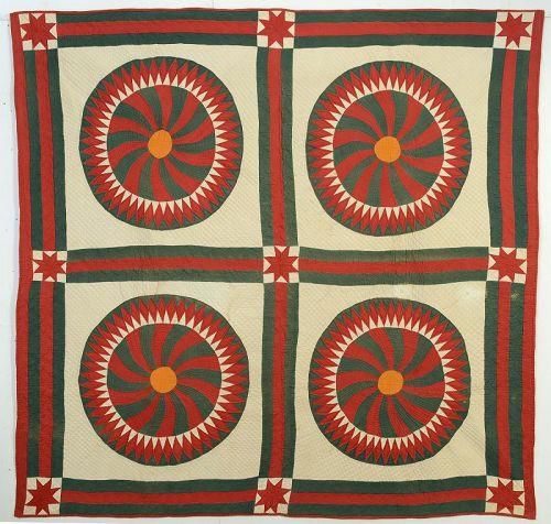 Swirling Pinwheels Quilt: Circa 1880