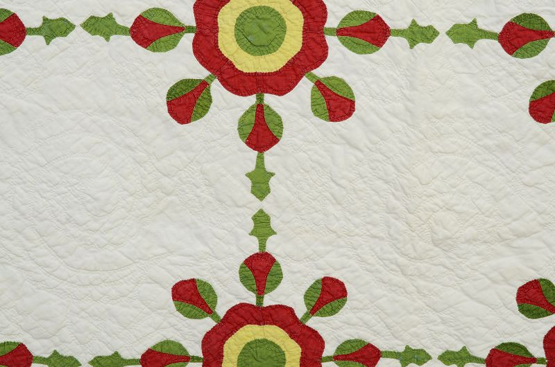 Whig Rose Quilt: Circa 1860