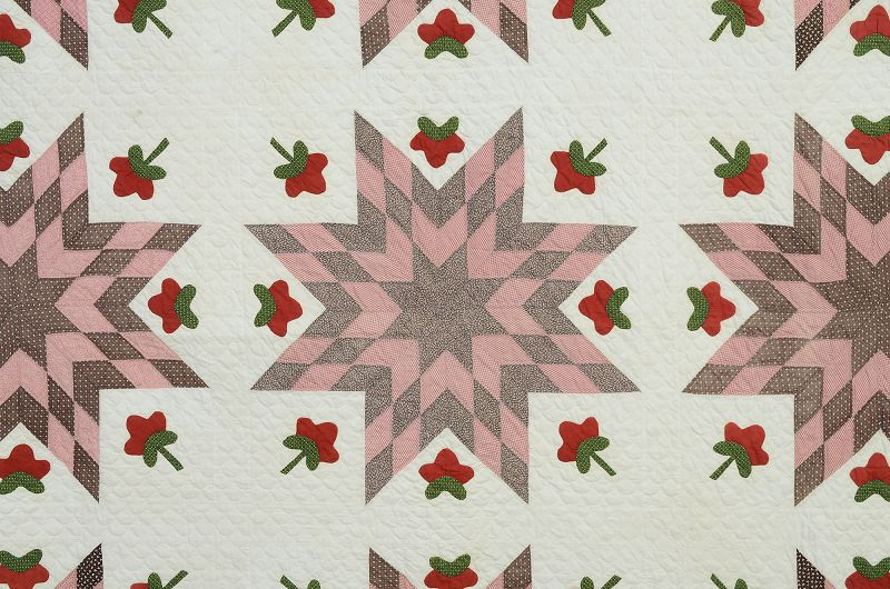 Touching Stars Quilt with Applique: circa 1870; Pennsylvania