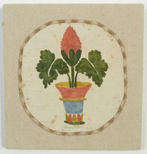 Pot of Flowers Painted Mat: Circa 1870; New England