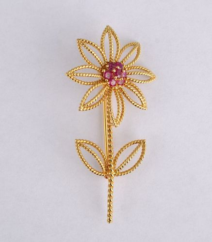 Tiffany Gold and Ruby Flower Brooch