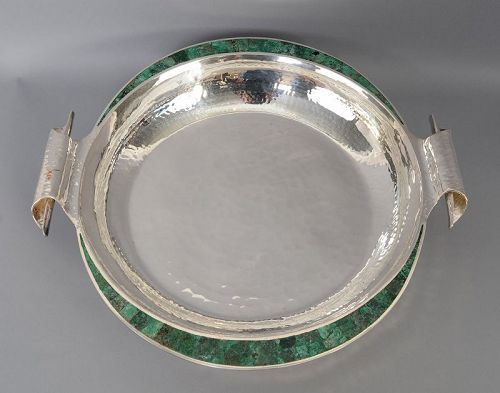 Los Castillo Large Silver and Malachite Bowl