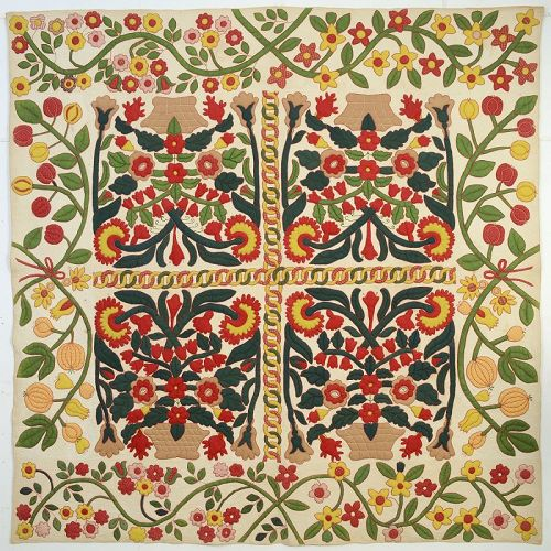 Pots of Flowers Stuffed Applique Quilt: Circa 1850