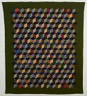 Mennonite Tumbling Blocks Quilt: Circa 1880;Pennsylvania