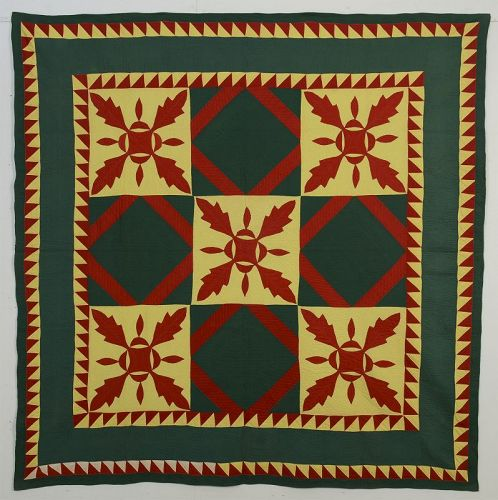 Mennonite Oakleaf Variation Quilt: Circa 1880;Pennsylvania