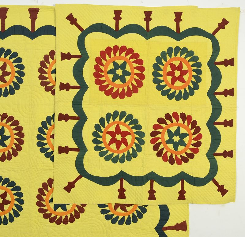 Mennonite Wreath Applique Quilt and Matching Crib Quilt: Ca. 1880; Pa.