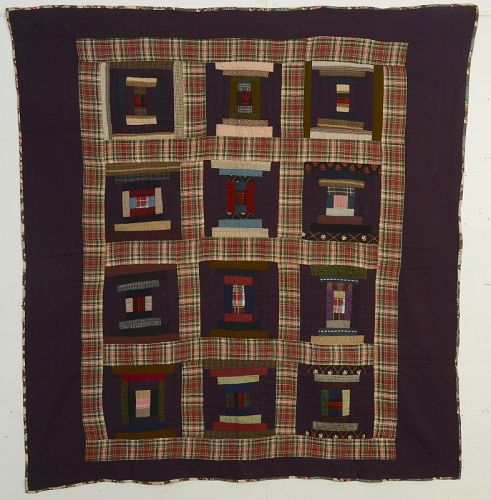 Mennonite Log Cabin Quilt: Circa 1890; Pennsylvania