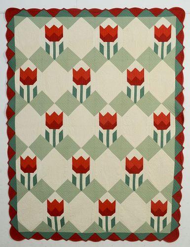 Ruby McKim Tulips Quilt: Circa 1930