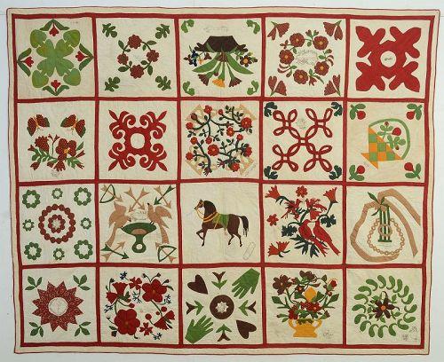 New Jersey Album Quilt: Dated 1867