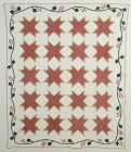 Feathered Stars Quilt with Applique Border: Circa 1830's